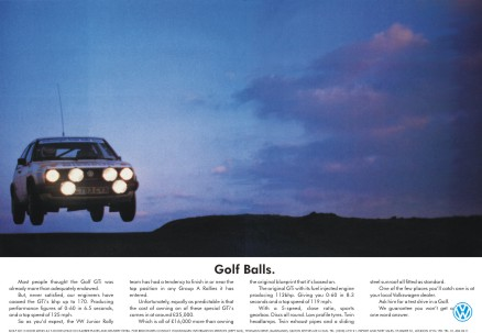 "Limited Edition Volkswagen Golf ""Balls"" advertising reprint"